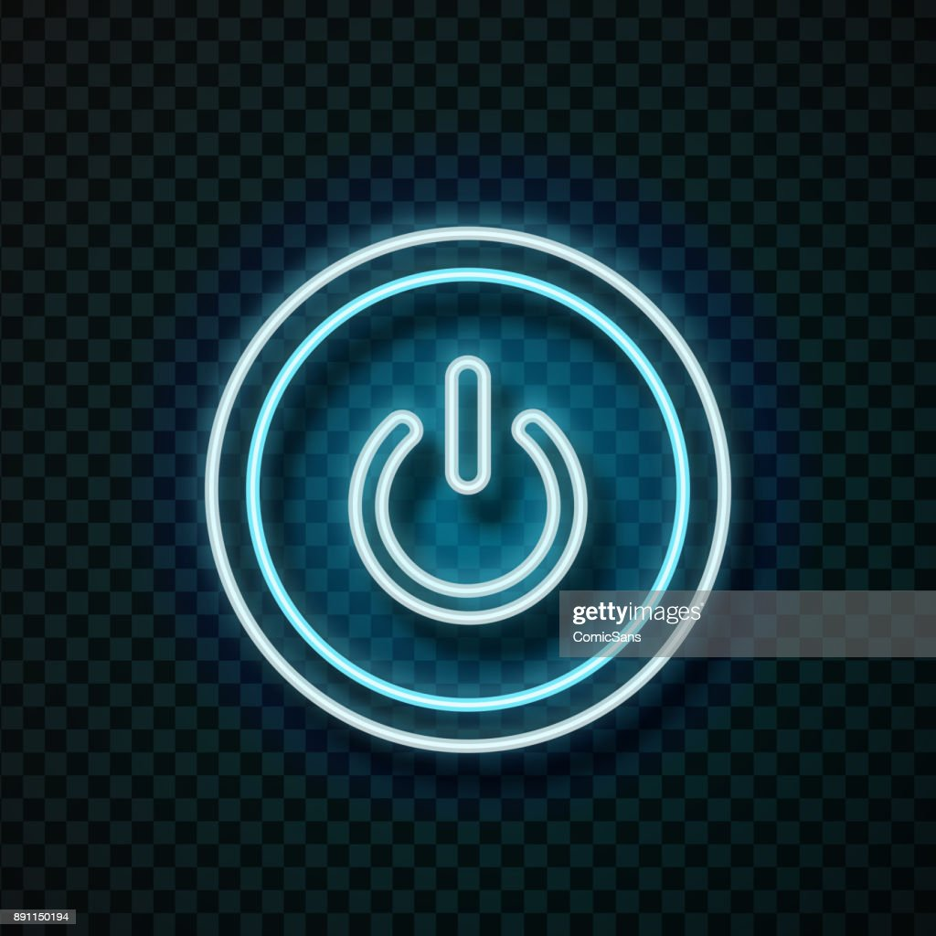 Vector realistic isolated neon power button for technology decoration and covering on the transparent background.