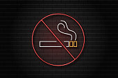 Vector realistic isolated neon retro sign of No Smoking on the wall background for decoration and covering.