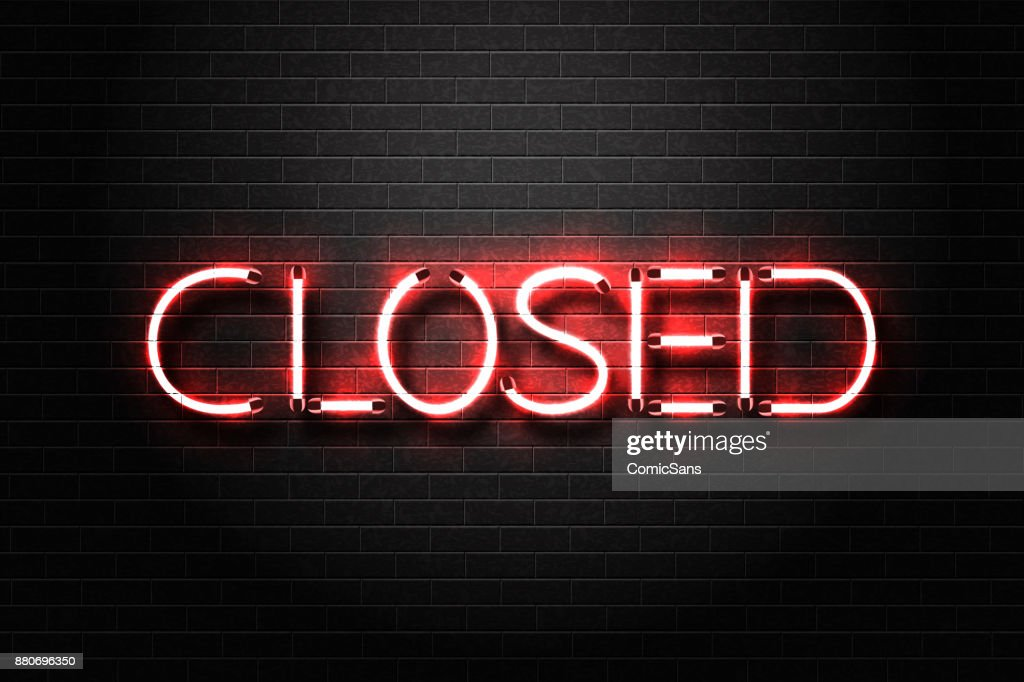 Vector realistic isolated neon sign for Closed lettering for decoration and covering on the wall background.