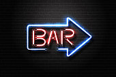 Vector realistic isolated neon sign of Bar lettering arrow for decoration and covering on the wall background. Concept of night club.