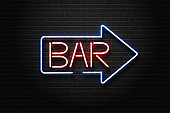 Vector realistic isolated neon sign of Bar lettering arrow for decoration and covering on the wall background. Concept of night club, restaurant and cafe.