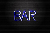 Vector realistic isolated neon sign of Bar lettering for decoration and covering on the wall background. Concept of night club.