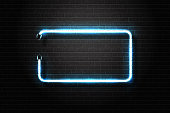 Vector realistic isolated neon sign of blue frame for decoration and covering on the wall background.
