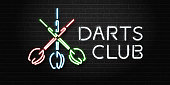 Vector realistic isolated neon sign of Darts for decoration and covering on the wall background. Concept of sport game and darts club.