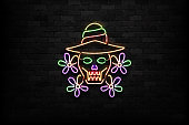 Vector realistic isolated neon sign of Dia de Muertos skull symbol for decoration and covering on the wall background. Concept of Happy Day of the Dead in Mexico.