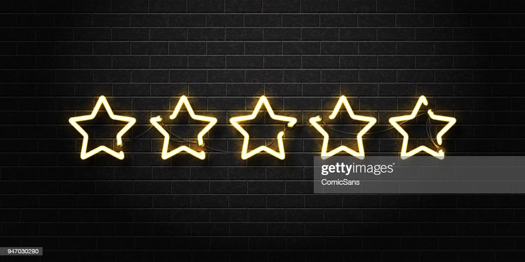 Vector realistic isolated neon sign of five golden stars for decoration and covering on the wall background. Concept of vip, luxury and rating.