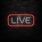 Vector realistic isolated neon sign of Live logo for decoration on the wall background. Concept of podcast and radio.