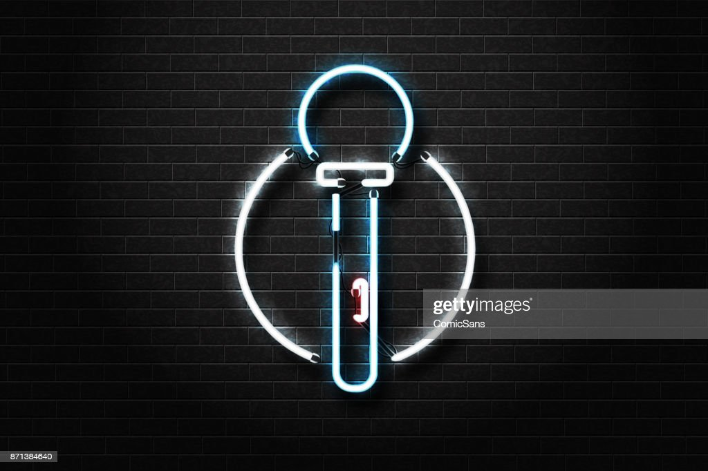 Vector realistic isolated neon sign of microphone for decoration and covering on the wall background. Concept of karaoke and night club show.