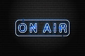 Vector realistic isolated neon sign of On Air logo with headset for decoration and covering on the wall background. Concept of radio, broadcasting and dj.