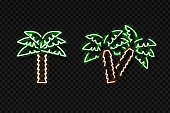 Vector realistic isolated neon sign of palm for decoration and covering on the transparent background. Concept of relax and summer.
