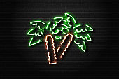 Vector realistic isolated neon sign of palms for decoration and covering on the wall background. Concept of relax and summer.