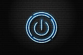 Vector realistic isolated neon sign of power button for decoration and covering on the wall background.