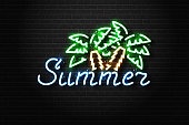 Vector realistic isolated neon sign of Summer logo with palms for decoration and covering on the wall background. Concept of beach, surfing and happy summer.