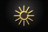 Vector realistic isolated neon sign of Sun for decoration and covering on the wall background.