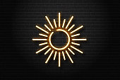 Vector realistic isolated neon sign of sun for decoration and covering on the wall background. Concept of summer and vacation.