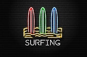 Vector realistic isolated neon sign of Surfing logo with beach and surfboards for decoration and covering on the wall background. Concept of surfing and summer.