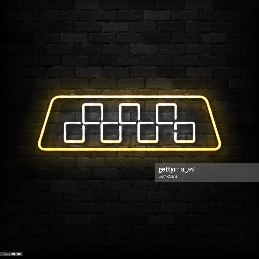 Vector realistic isolated neon sign of Taxi logo for decoration and covering on the wall background.