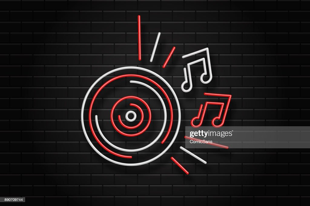 Vector realistic isolated neon sign of vinyl record for decoration and covering on the wall background. Concept of dj, night club and music.