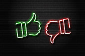 Vector realistic isolated neon signs of thumbs up and down on the wall background. Concept of rating, network and social media.