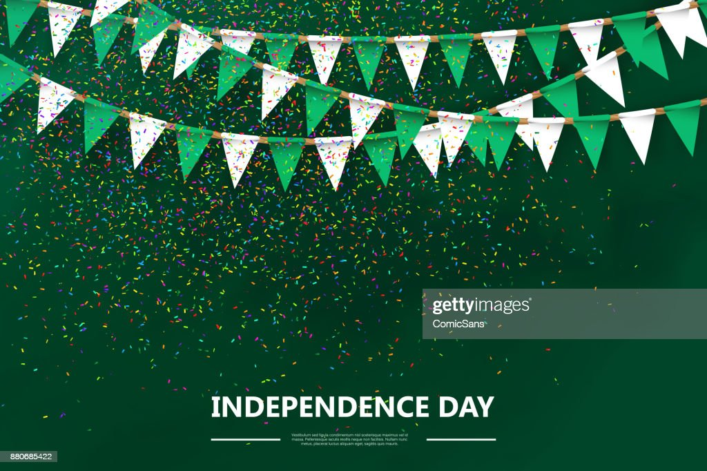 Vector realistic isolated poster for 1st October Nigeria Independence Day with party flags and confetti on the green background.