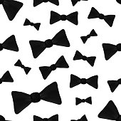 Vector realistic isolated seamless pattern with bow tie on the white background.