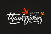 Vector realistic isolated typography logo for Happy Thanksgiving Day with autumn leaves for decoration and covering on the chalk background.