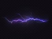 Vector realistic lightning, purple thunderstorm, design element