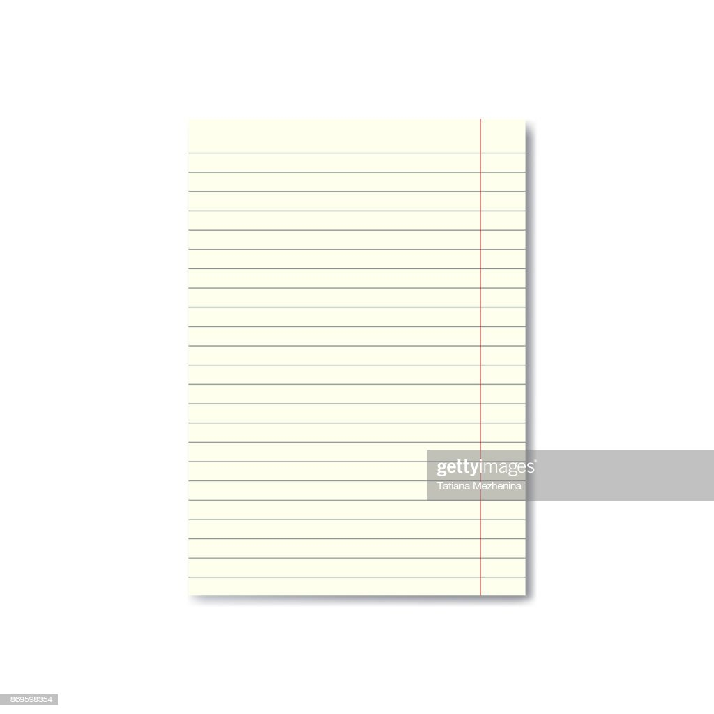 Vector realistic lined paper sheet with margins