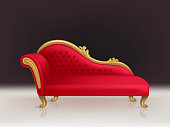 Vector realistic luxurious red velvet sofa, couch