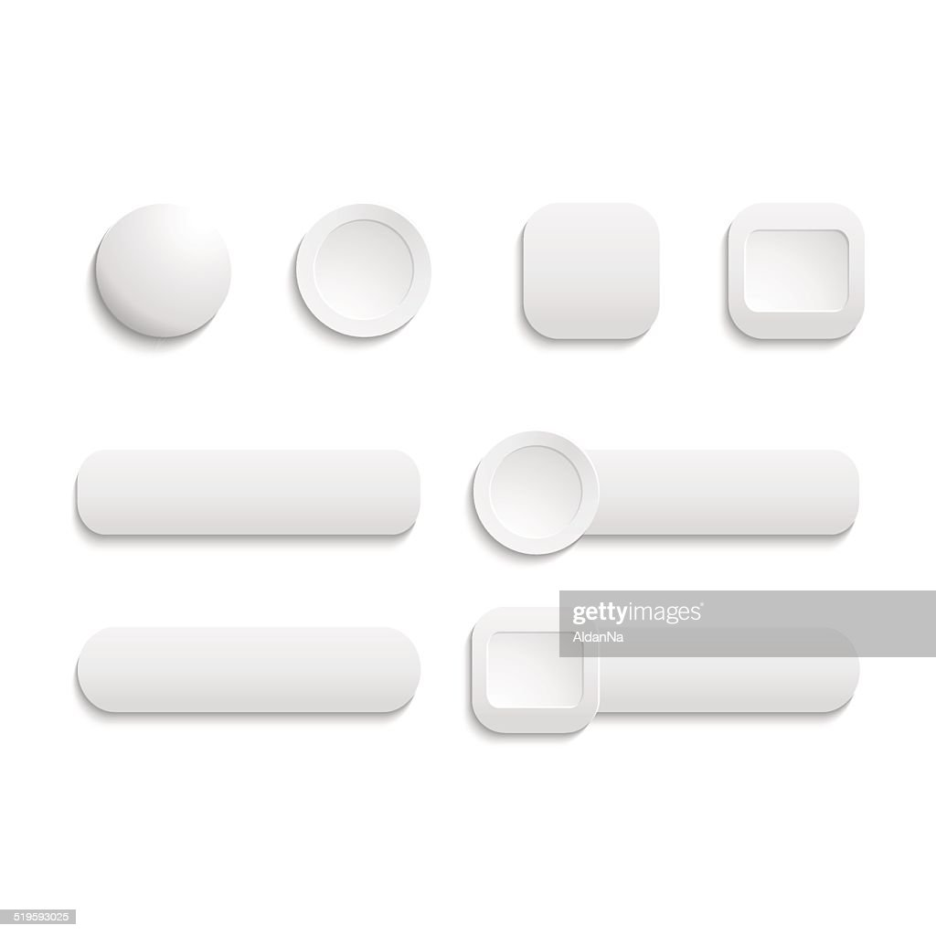 Vector  realistic Matted white color Web  buttons  symbol set is
