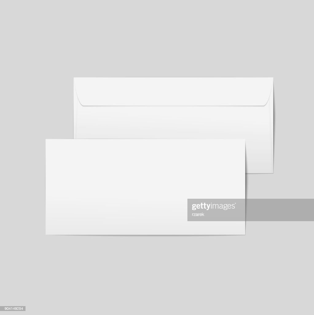 Vector realistic paper envelopes. Front and back with transpapernt background, ready for your design.