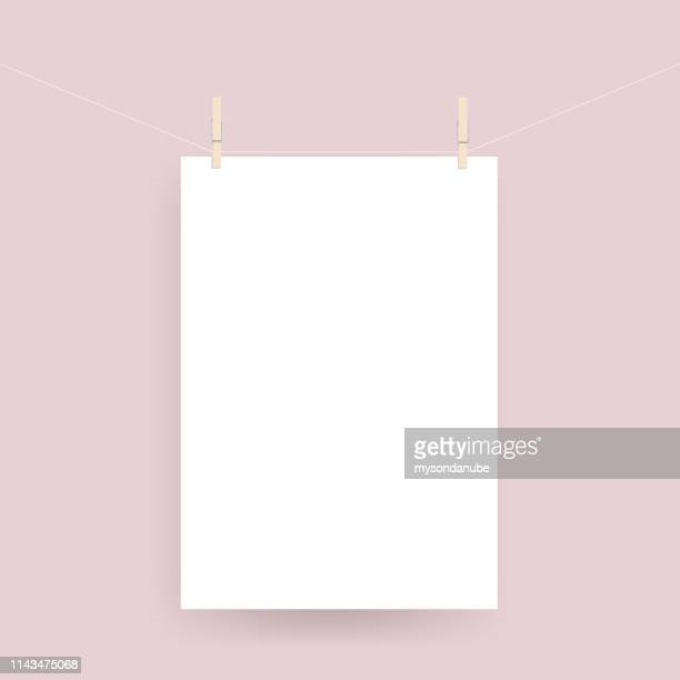 vector realistic paper poster hanged on rope with clothespin - retail display stock illustrations