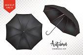 Vector realistic parasol, rain umbrella sunshade set. round mock up