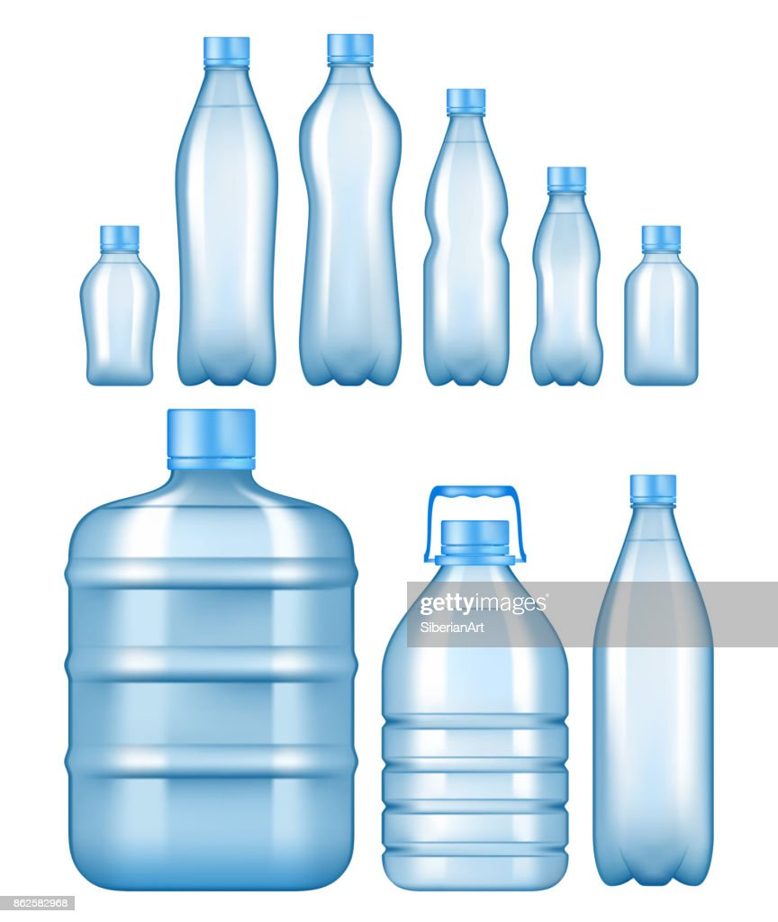 Vector realistic plastic water bottles set