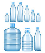 Vector realistic plastic water bottles set