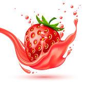 Vector realistic red strawberry juice splash