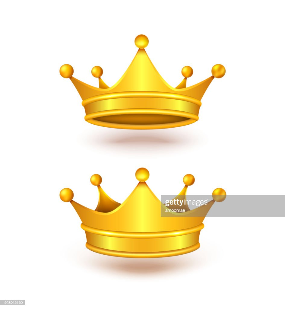 Vector realistic set of two golden royal crowns