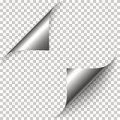 Vector realistic silver foil paper corners