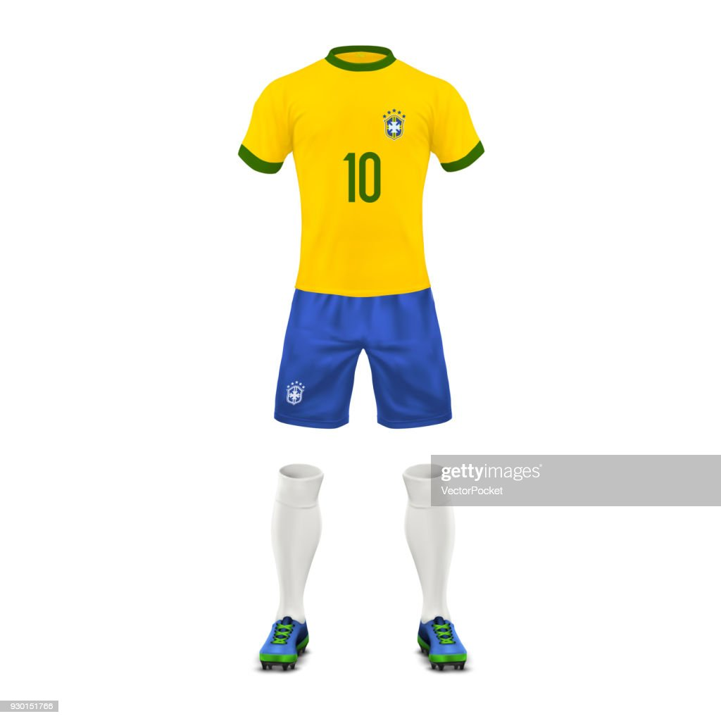 Vector realistic soccer uniform of a brazil team