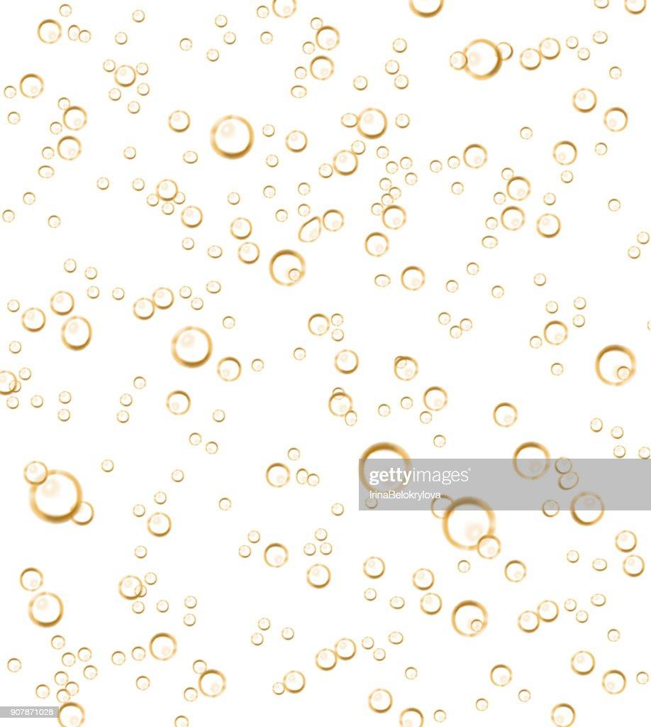 Vector realistic soda, champagne bubbles