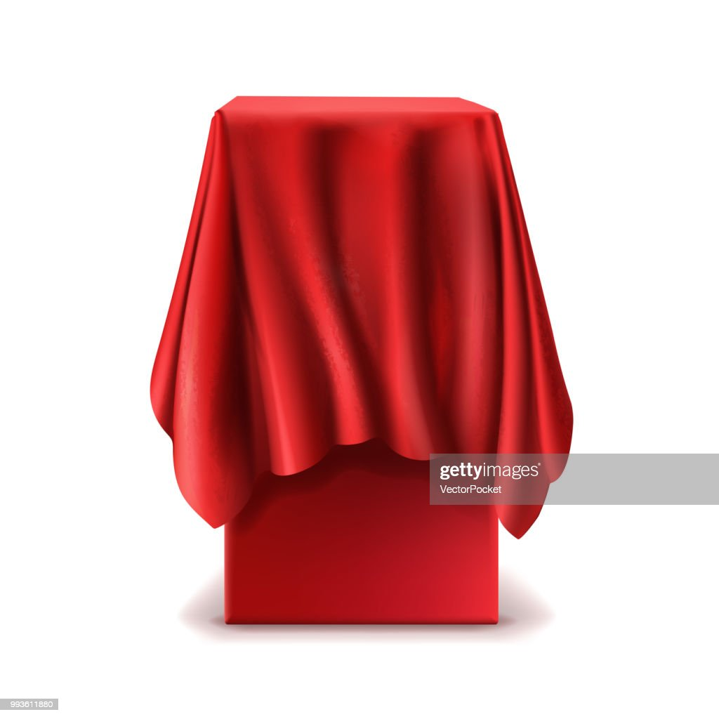 Vector realistic stand covered with red silk cloth