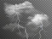 Vector realistic stormy clouds with lightning effects isolated on dark background