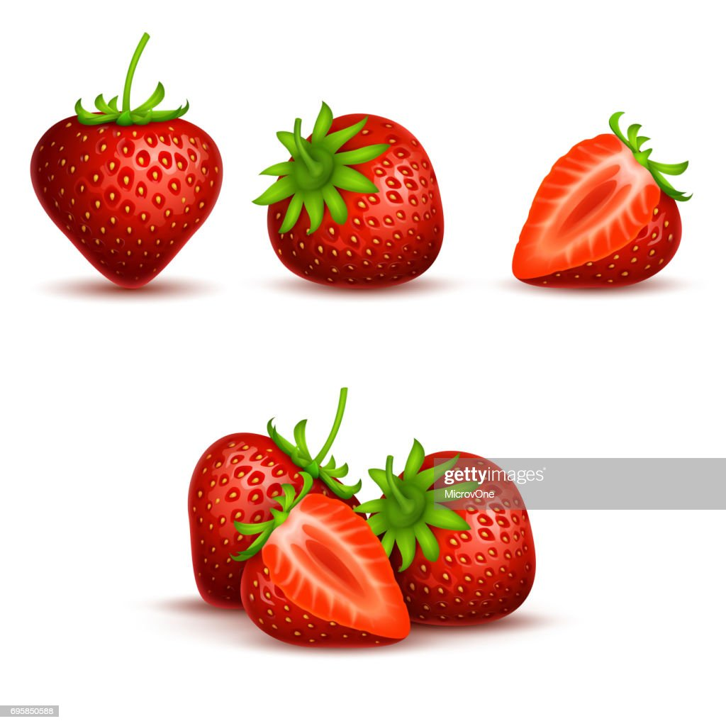 Vector realistic sweet and fresh strawberry isolated on white background