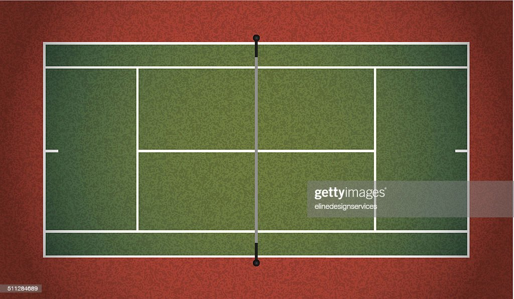 Vector Realistic Textured Tennis Court Illustration
