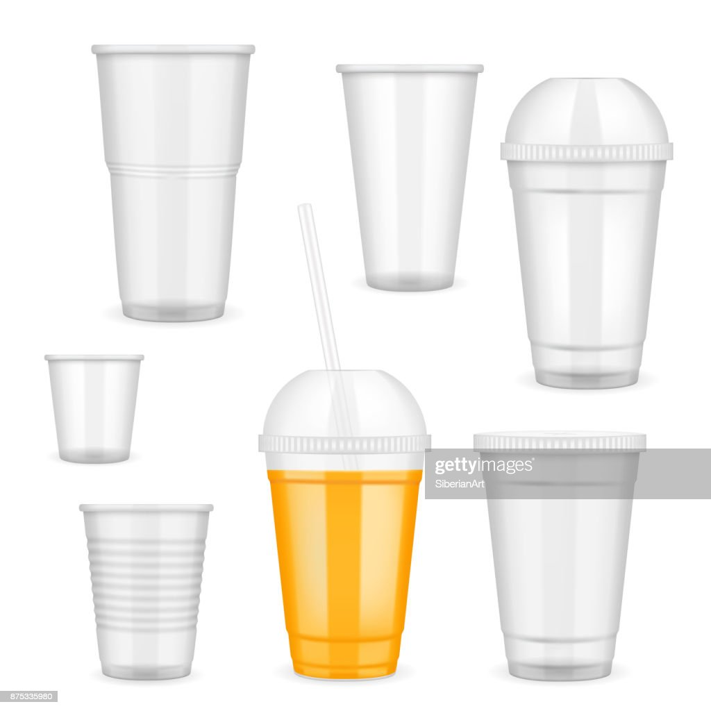 Vector realistic transparent disposable plastic cup set