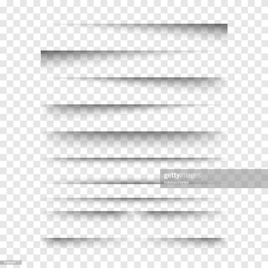 Vector realistic transparent shadows set.
