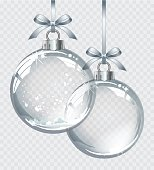 Vector realistic transparent silver Christmas ball with snow