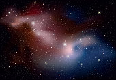 Vector realistic universe texture or background with glowing stars and colorful galaxies