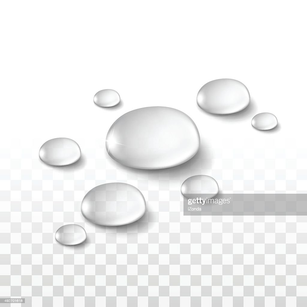 Vector Realistic Water Drops Set Isolated on Transparent