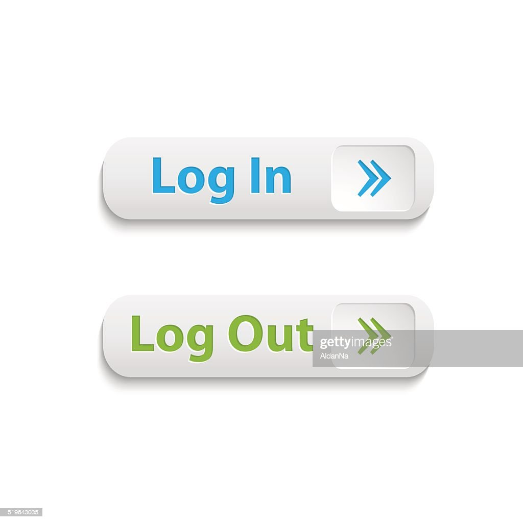 Vector realistic web login and log out buttons isolated